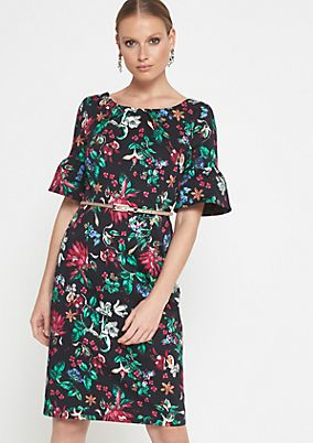 Casual dress with a colourful, all-over floral pattern from comma
