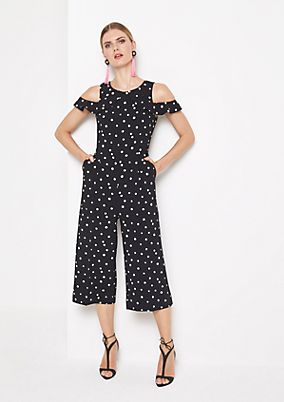 Extravaganter Krepp-Jumpsuit mit Dot-Alloverprint