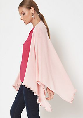 Casual knit poncho with ruffle embellishment from comma