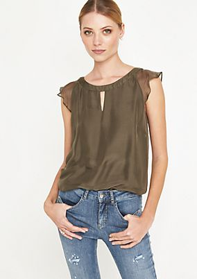 Elegant short sleeve blouse in delicate silk from comma