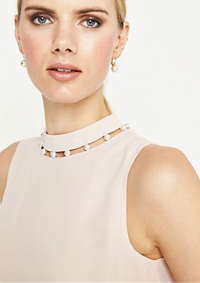 Delicate crêpe top with decorative beads from comma