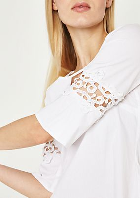 3/4-sleeve blouse with elegant lace decoration from comma