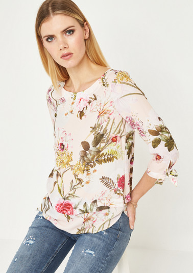3/4-sleeve crêpe blouse with a colourful pattern from comma