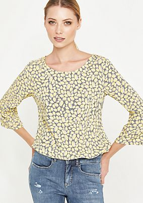 3/4-Arm Bluse mit Allovermuster
