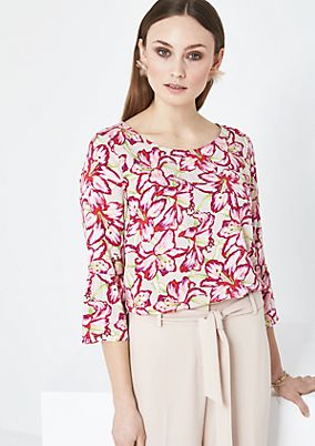 3/4-sleeve blouse with an all-over pattern from comma