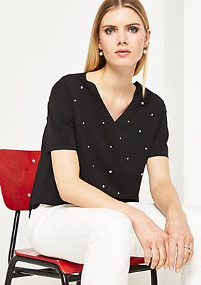 Short sleeve top with decorative discs from comma