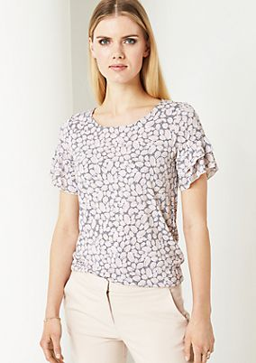 Short sleeve jersey top with an all-over pattern from comma