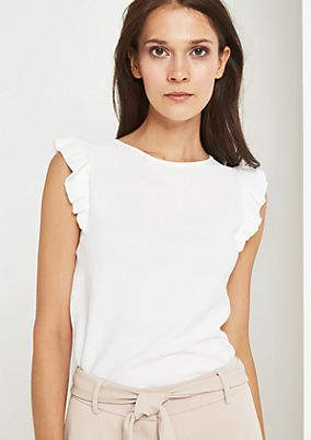 Fine knit top with decorative flounces from comma
