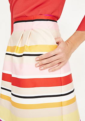 Elegant satin skirt in a striped look from comma