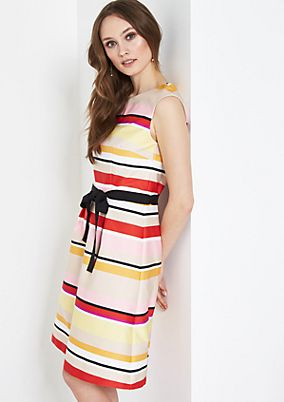 Extravagant satin dress in a striped design from comma