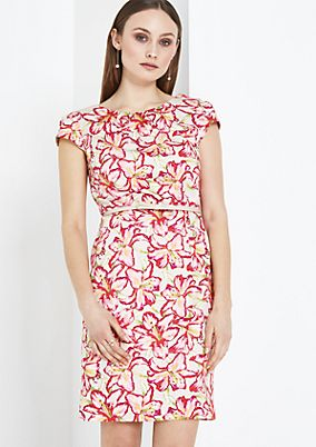 Satin dress with a decorative floral print from comma