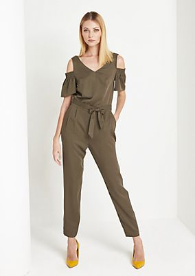 Jersey jumpsuit with pretty cut-outs from comma