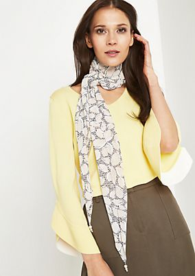 Asymmetric chiffon scarf with bead embellishment from comma