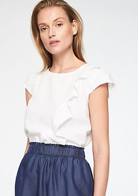 Short sleeve blouse with a decorative flounce from comma