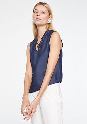 Blouse top in a denim-look from comma