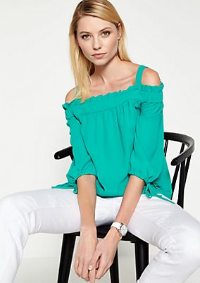 Off-the-shoulder crêpe blouse with 3/4-length sleeves from comma