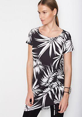 Jersey-Longshirt mit dekorativem Allovermuster