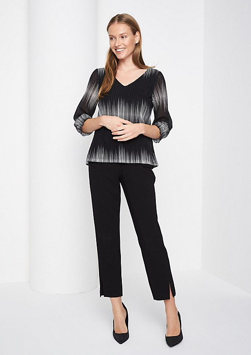 3/4-length sleeve knitted top in mesh with colour gradation from comma