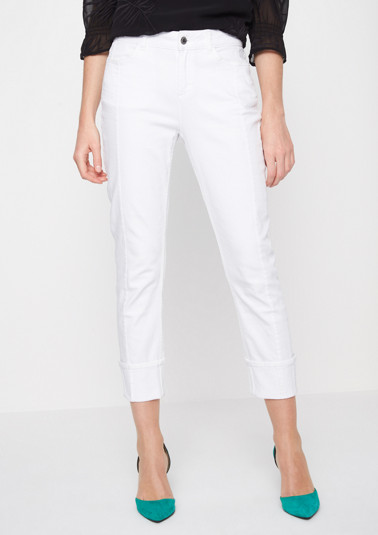 White denim jeans with wide turn-ups from comma