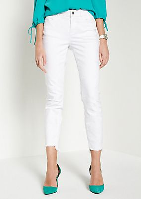 White Denim-Jeans mit Ton-in-Ton Floralstickereien