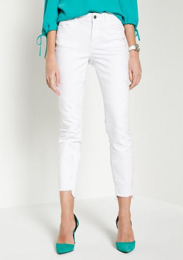 White Denim-Jeans mit Ton-in-Ton Floralstickereien