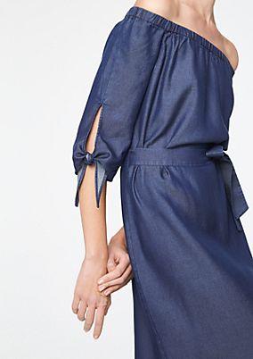 Schulterfreies Jeanskleid mit 1/2-Ärmeln