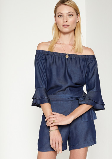 Off-the-shoulder denim jumpsuit with short legs from comma