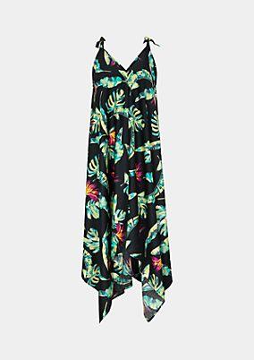 Satin-Strandkleid mit farbenprächtigem Alloverprint