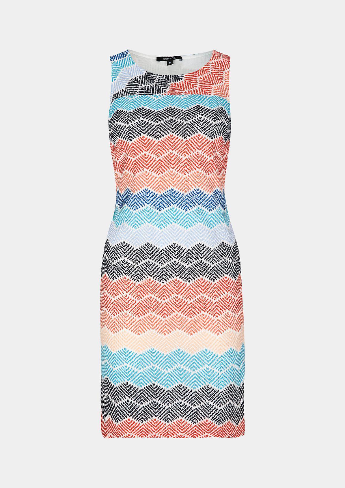 Mesh-Strickkleid mit farbenfrohem Allovermuster
