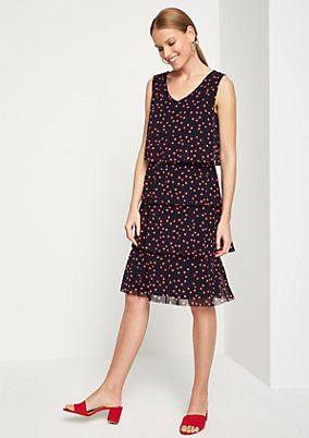 Mesh dress with flounces from comma