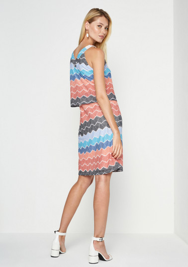Knitted mesh dress with a colourful pattern from comma