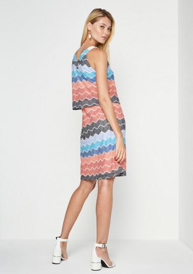 Mesh-Strickkleid mit farbenfrohem Muster