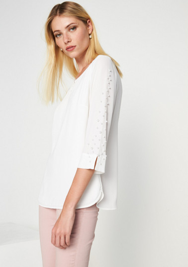 Delicate crêpe blouse with bead embellishments from comma