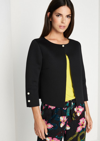 3/4-length cropped blazer in a neoprene finish from comma
