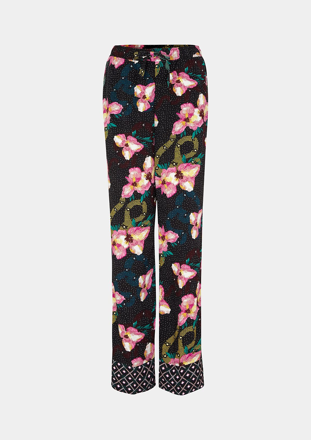 Casual trousers with a colourful floral pattern from comma