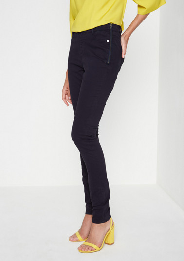 Skinny satin jeans with sophisticated details from comma