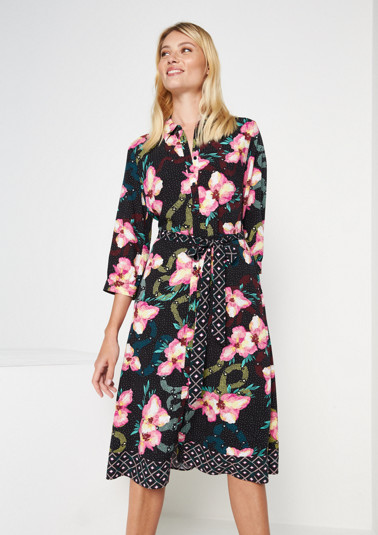 Long shirt dress with a decorative all-over floral print from comma