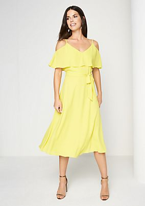Elegant crêpe dress with a wide fabric belt from comma