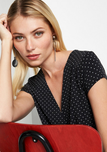 Jersey jumpsuit with a polka dot pattern from comma