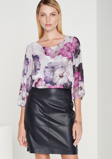 Crêpe blouse with a colourful all-over print and 3/4-length sleeves from comma