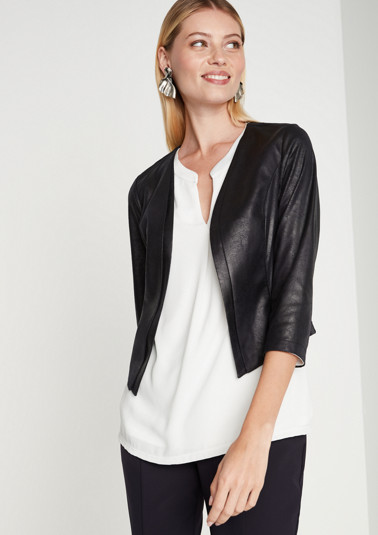 Elegant faux leather blazer with 3/4-length sleeves from comma
