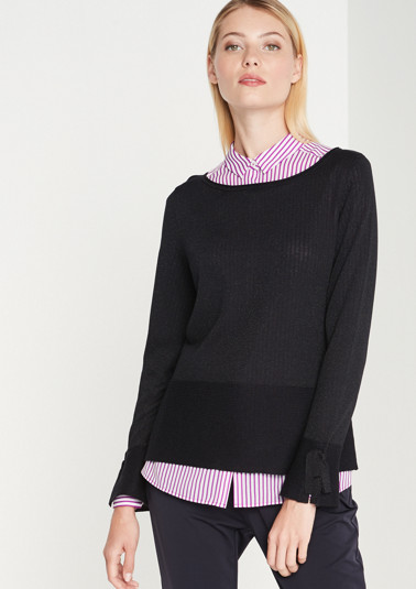 Lightweight knitted jumper with interwoven glitter yarns from comma