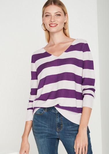 Knit jumper with a casual stripe pattern from comma