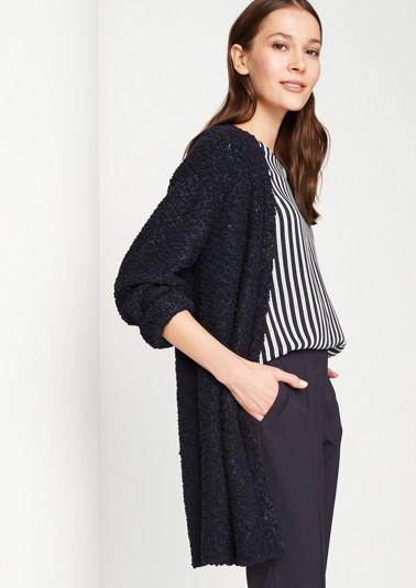 Long cardigan in bouclé yarn from comma
