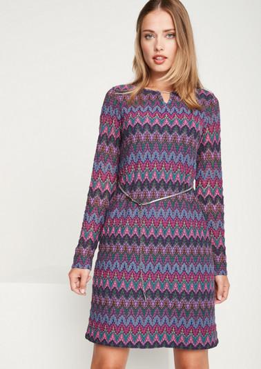 Leichtes Strickkleid mit farbenfrohem Musterspiel