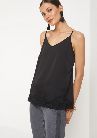 Lightweight satin top with spaghetti straps from comma