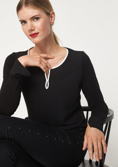 Long sleeve jersey top in a mix of materials from comma