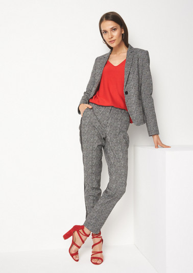 Business blazer with an abstract check pattern from comma