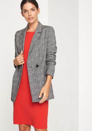 Smart long blazer with an abstract check pattern from comma