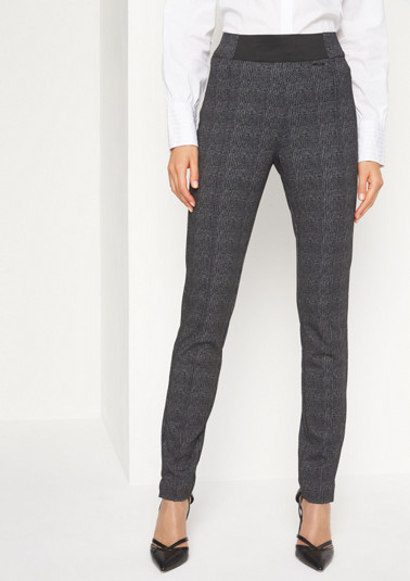 Elegant business trousers with a fine check pattern from comma